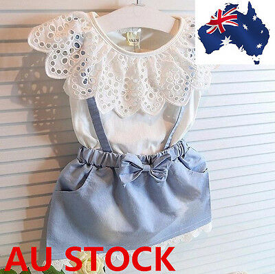 Girls Lovely Dress Cute Princess Girl Baby Sleeveless Denim Tulle Bowknot Dress