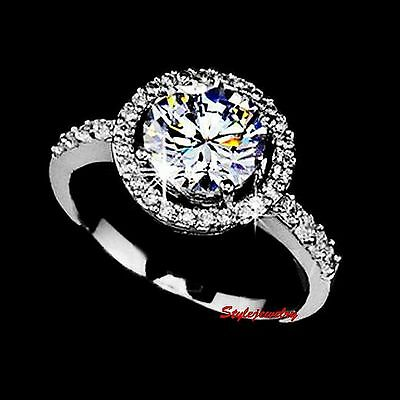Sterling Silver 1ct Round Cut Diamond Created Women Wedding Engagement Ring R207