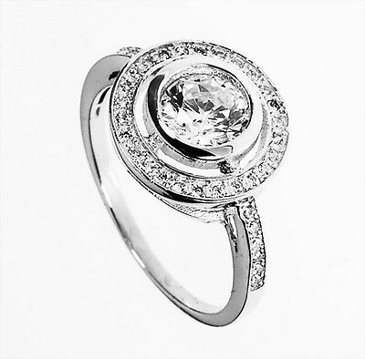 Sterling Silver 2ct Round Cut Diamond Created Women Wedding Engagement Ring R210