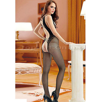 Women's Backless Fishnet Body Stockings Lingerie Bodysuit Nightwear Black