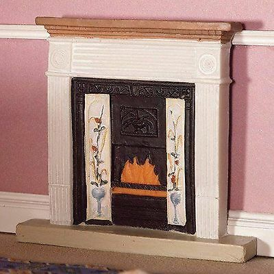 "1/12 Scale Dolls House White ""victorian Style"" Fireplace With Fire"