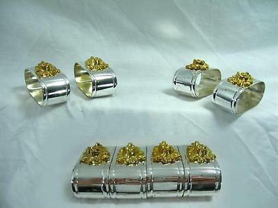 Silver Plated Napkin Rings Set Of 4 Vintage Mid 20th C Holders Art Nouveau Style