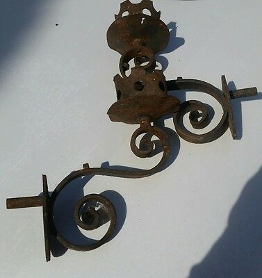 2 matching  vintage  sconce 1920's Cast  Iron Large Gothic