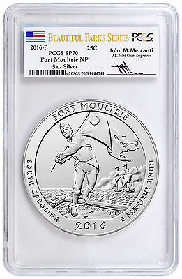 2016-P Fort Moultrie 5 oz Silver ATB PCGS SP70 Beautiful Parks Mercanti SKU45895