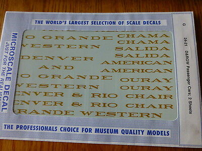 Microscale G #24-21 D&RGW Passenger Cars (2 Sheets) Decals