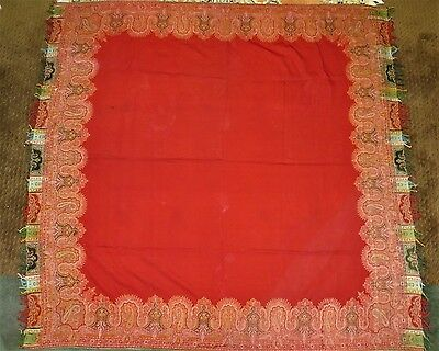 Antique 19Th C Paisley Wool Shawl Red, Lge Center, Woven Borders