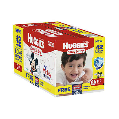 New Huggies Snug and Dry Size 4 Disposable Diaper Super Pack - 112 Count