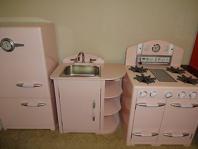 Pottery Barn Kids Pink Retro Kitchen 3 Set Stove Sink Refrigerator Euc Extras