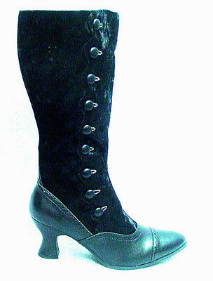 0262a85a4b28 Victorian Button style Vegan manmade granny boots black lace up with zipper