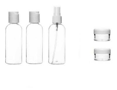 100 Ml 6pc Piece Holiday Travel Bath Toiletry Set Clear Bottle Airport Flight