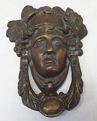 Old Antique Large Solid BRASS VICTORIAN LADY DOOR KNOCKER -WORKS-