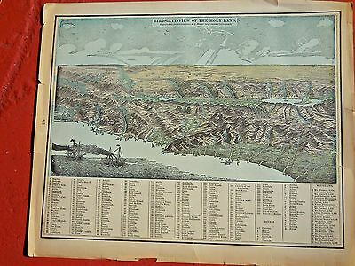 "1889 ORIGINAL COLORED ANTIQUE MAP - ""BIRDS EYE VIEW of the HOLY LAND"""