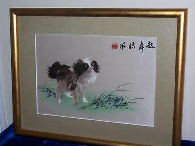 Japanese Silk Embroidered Chin Dog Guardian Lion Dog Handpainted Textile