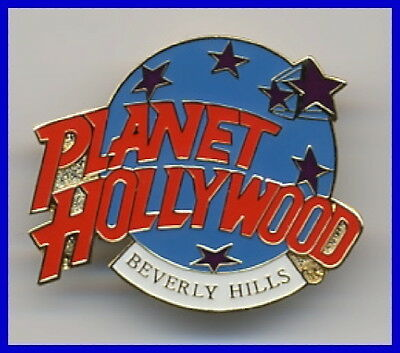 Planet Hollywood BEVERLY HILLS Classic Globe Red White & Light Blue PIN New!