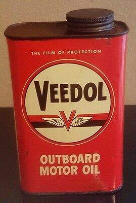VEEDOL FLYING V Outboard OIL CAN -- 1 quart - one qt -- Tidewater Associated A