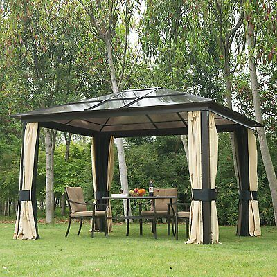 Outsunny 3m x 3.6m Metal Gazebo Canopy Patio Marquee Party Tent Outdoor Garden