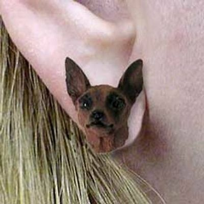 Post Style Finding MIN PIN RED Dog Head Post Earrings CLEARANCE SALE