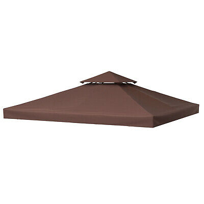 Outsunny 3m x 3m 2 Tier Garden Gazebo Top Cover Fabric Replacement Canopy Roof