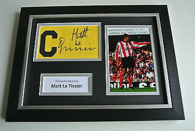 Matt le Tissier SIGNED FRAMED Captains Armband & Photo A4 Display Southampton