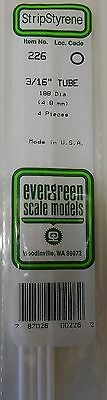 "Evergreen Strip Styrene 226 4 Pieces of 3/16"" TUBE."