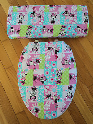Minnie Mouse Print Disney Fabric Girls Bathroom Decor .. Toilet Seat Cover Set