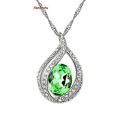 White Gold Fill Peridot Green Teardrop Necklace Made With Swarovski Crystal N87