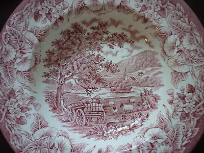 Stafford English Ironstone Red & White Rim Soup Plate Bowl Wagon several avail