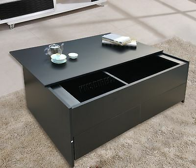 FoxHunter Slide Top coffee Table With Storage and Drawer Living Room CT02 Black