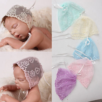Newborn Baby Lace Flower Cap Hat Girls Beanie Bonnet Hats Photo Prop Photography