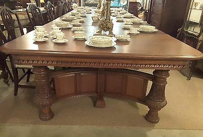 "Antique Victorian Mahogany Dining Room 60"" Square Banquet Table W/ 8 leaves 18'"