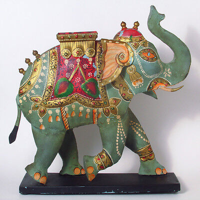 """Colorful Hindu Painted Metal Elephant Statue - 16"""" Tall"""