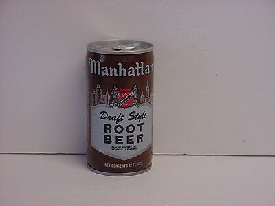 Vintage Manhattan Root Beer Crimped Steel Soda Can Stay-on Tab Bottom Opened
