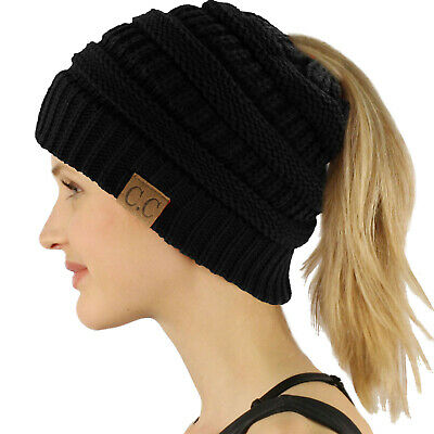 CC Beanietail Messy High Bun Ponytail Stretchy Knit Beanie Skull Hat