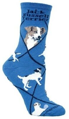 Adult Size Medium JACK RUSSELL TERRIER Adult Socks/Blue Made in USA