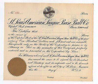 St.Louis American League Baseball Company Stock Certificate