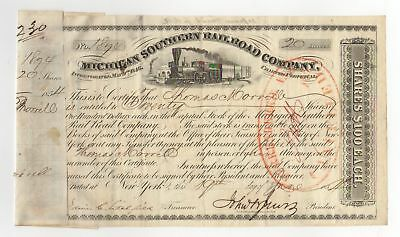 1854 Michigan Southern and Northern Indiana Railroad Co. Stock Certificate