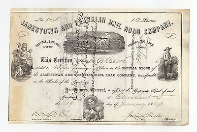 1866 Jamestown and Franklin Railroad Company Stock Certificate