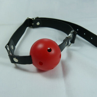 Simple PU leather ball gag - red ball (GB-B3-RED), FREE UK DELIVERY