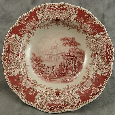 """Red & Cream Transferware Victorian Country Toile Soup Salad Pasta Bowl ~9""""~"""