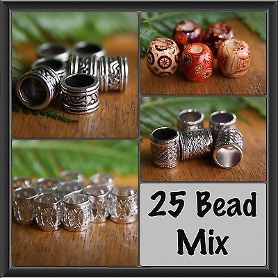 25 DREADLOCK BEAD MIX - 5 Wooden - 10 Tibetan - 10 Metal Hair Beads New