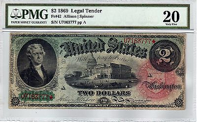 "Fr.42 $2 1869 ""RAINBOW"" LEGAL TENDER NOTE PMG VERY FINE 20"