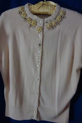 1950's Beaded Cardigan Sweater- Medium- Beige w/Beaded  Flowers-  SALE
