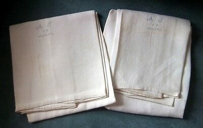 TWO Antique Hand Woven Grown Flax Pillowcase* Tiny Cross Stitch Monogram AT 19