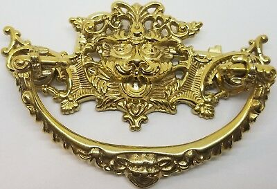 "Victorian Style ""Green Man"" Cast Brass Drawer Pull"