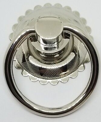 SMALL Eastlake Victorian Nickel Plated Brass Single Post Ring Pull Knob Bail NEW