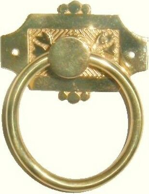 Victorian Eastlake Style Cast Brass SINGLE POST RING PULL