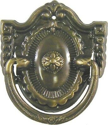 DEPRESSION ERA Antiqued Stamped Brass Single Post Pull
