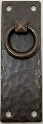 Hammered Forged Brass Mission Style Vertical DOOR PULL with Antique Copper Fi...