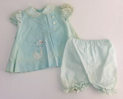 Vintage 1950s 60s Infant Toddler Girls Baby Blue Outfit w/Swan, Size 12 Months