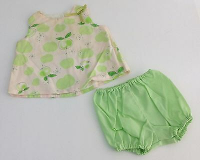 Vintage 1950s 60s Stoneswear Infant Toddler Girls Green Apple Outfit Size 12M